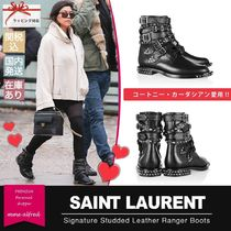Saint Laurent Casual Style Studded Leather Block Heels Flat Boots