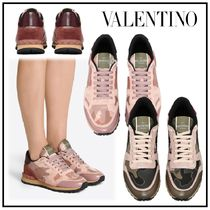 VALENTINO Camouflage Rubber Sole Studded Leather Low-Top Sneakers