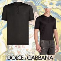 Dolce & Gabbana Silk Henry Neck Plain Short Sleeves Henley T-Shirts