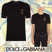 Dolce & Gabbana Crew Neck Plain Cotton Short Sleeves Henley T-Shirts
