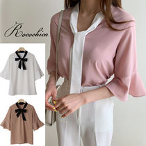 Bi-color Cropped Plain Medium Office Style Shirts & Blouses