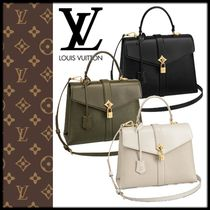Louis Vuitton 2WAY Plain Leather Khaki Shoulder Bags