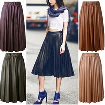 Faux Fur Pleated Skirts Plain Medium Midi Skirts