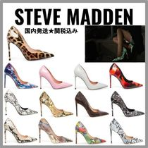Steve Madden Leopard Patterns Plain Pin Heels Pointed Toe Pumps & Mules