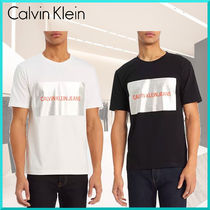 Calvin Klein Crew Neck Unisex Street Style Plain Cotton Short Sleeves