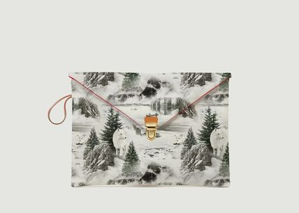 Flower Patterns Bag in Bag Leather Clutches