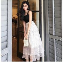 Dots Casual Style Cotton Long Maxi Skirts