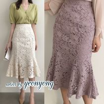 Flared Skirts Flower Patterns Plain Lace Skirts
