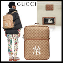 GUCCI Monogram Canvas Street Style A4 Backpacks