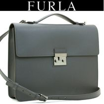 FURLA A4 2WAY Plain Leather Business & Briefcases