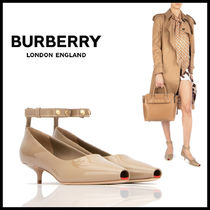 Burberry Open Toe Plain Leather Peep Toe Pumps & Mules