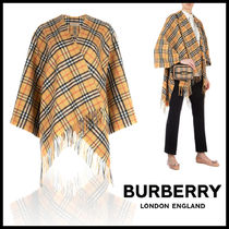 Burberry Other Check Patterns Cashmere Long Fringes Ponchos & Capes