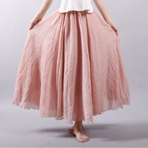 Flared Skirts Casual Style Linen Plain Long Maxi Skirts