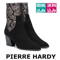 Pierre Hardy Flower Patterns Plain Toe Plain Block Heels Elegant Style