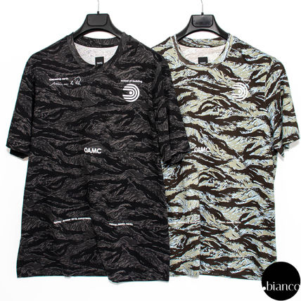 Crew Neck Camouflage Street Style Cotton Short Sleeves Logo
