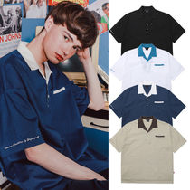 WV PROJECT Unisex Street Style Bi-color Plain Cotton Short Sleeves