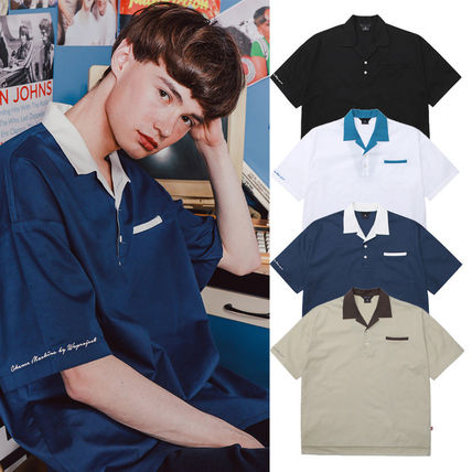 WV PROJECT Shirts Unisex Street Style Bi-color Plain Cotton Short Sleeves