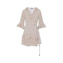 Louis Vuitton Dots Silk Blended Fabrics V-Neck Chain Puff Sleeves Dresses