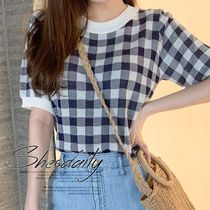 Crew Neck Gingham Casual Style Medium Short Sleeves Sweaters