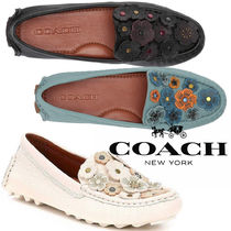 Coach Flower Patterns Plain Toe Casual Style Studded Plain Leather