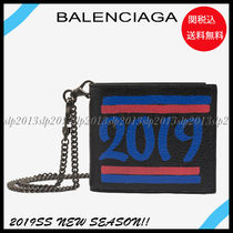 BALENCIAGA Unisex Chain Leather Folding Wallets