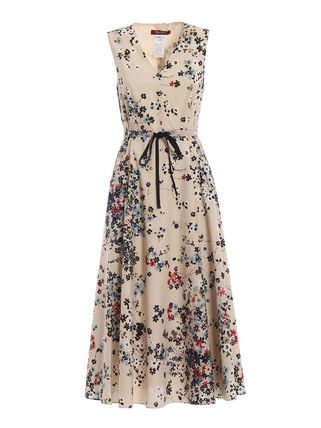 Flower Patterns Sleeveless V-Neck Medium Dresses