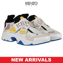 KENZO Round Toe Rubber Sole Lace-up Casual Style Blended Fabrics