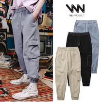WV PROJECT Unisex Street Style Plain Cotton Cargo Pants