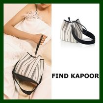 FIND KAPOOR Stripes Casual Style Canvas Studded Purses Shoulder Bags
