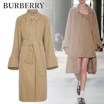 Burberry Other Check Patterns Unisex Street Style Plain Long