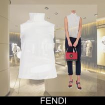 FENDI Sleeveless Plain Cotton Medium Elegant Style
