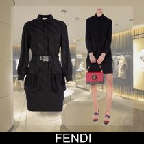 FENDI Short Tight Silk Long Sleeves Plain Elegant Style