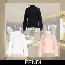 FENDI Silk Long Sleeves Plain Medium Elegant Style Focused Brands