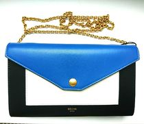 CELINE Pocket Trifolded Plain Leather Chain Wallet Long Wallets