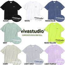 vivastudio Crew Neck Unisex Street Style Cotton Short Sleeves