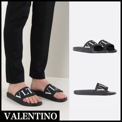 VALENTINO Shower Sandals Street Style Plain Shower Shoes PVC Clothing Shower Sandals