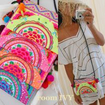 room IVY Tropical Patterns Casual Style Blended Fabrics Handmade