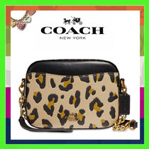 Coach Leopard Patterns 2WAY Leather Elegant Style Shoulder Bags