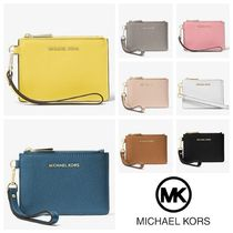 Michael Kors MERCER Plain Leather Bold Coin Purses