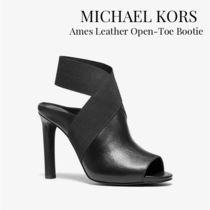 Michael Kors Open Toe Casual Style Plain Leather Ankle & Booties Boots