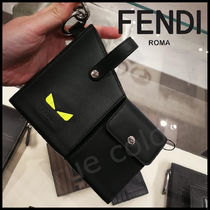 FENDI Plain Leather Logo Accessories