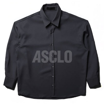 ASCLO Shirts Street Style Long Sleeves Plain Oversized Shirts 10