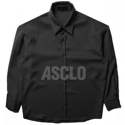 ASCLO Shirts Street Style Long Sleeves Plain Oversized Shirts 11