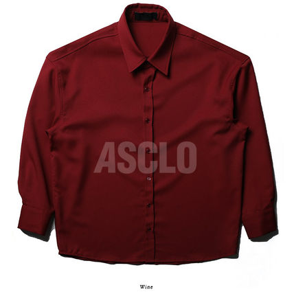 ASCLO Shirts Street Style Long Sleeves Plain Oversized Shirts 12