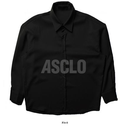 ASCLO Shirts Street Style Long Sleeves Plain Oversized Shirts 14
