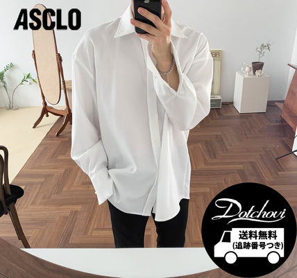 ASCLO Shirts Street Style Long Sleeves Plain Oversized Shirts