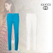 GUCCI Blended Fabrics Plain Cotton Skinny Pants