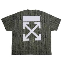 Off-White Crew Neck Camouflage Street Style Plain Cotton Short Sleeves