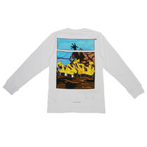 Off-White Crew Neck Street Style Long Sleeves Plain Cotton