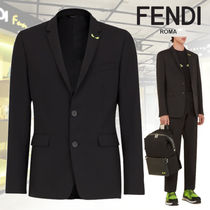 FENDI BAG BUGS Wool Plain Blazers Jackets